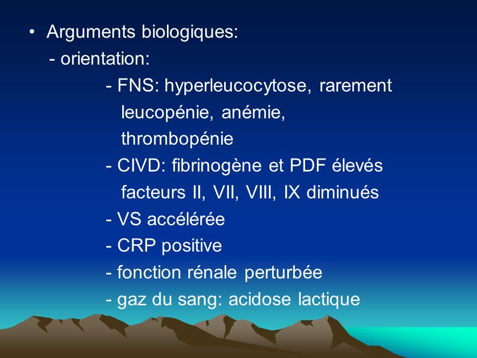 Arguments biologiques: - orientation: - FNS: hyperleucocytose, rarement leucopénie, anémie, thrombopénie - CIVD: fibrinogène et PDF élevés facteurs II