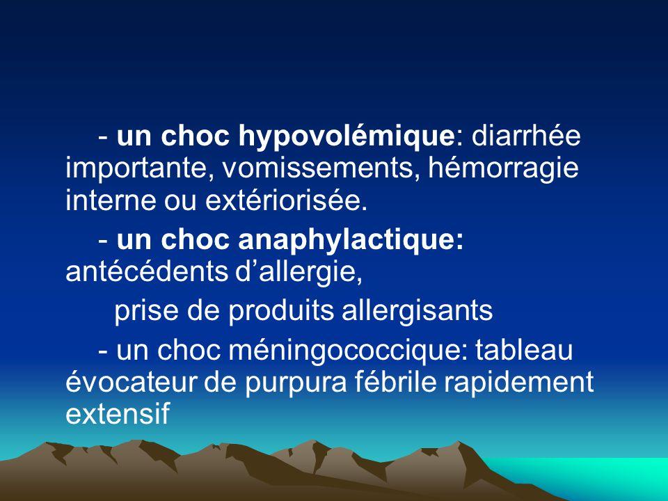 - un choc hypovolémique: diarrhée importante, vomissements, hémorragie interne ou extériorisée. - un choc anaphylactique: antécédents d'allergie, pris