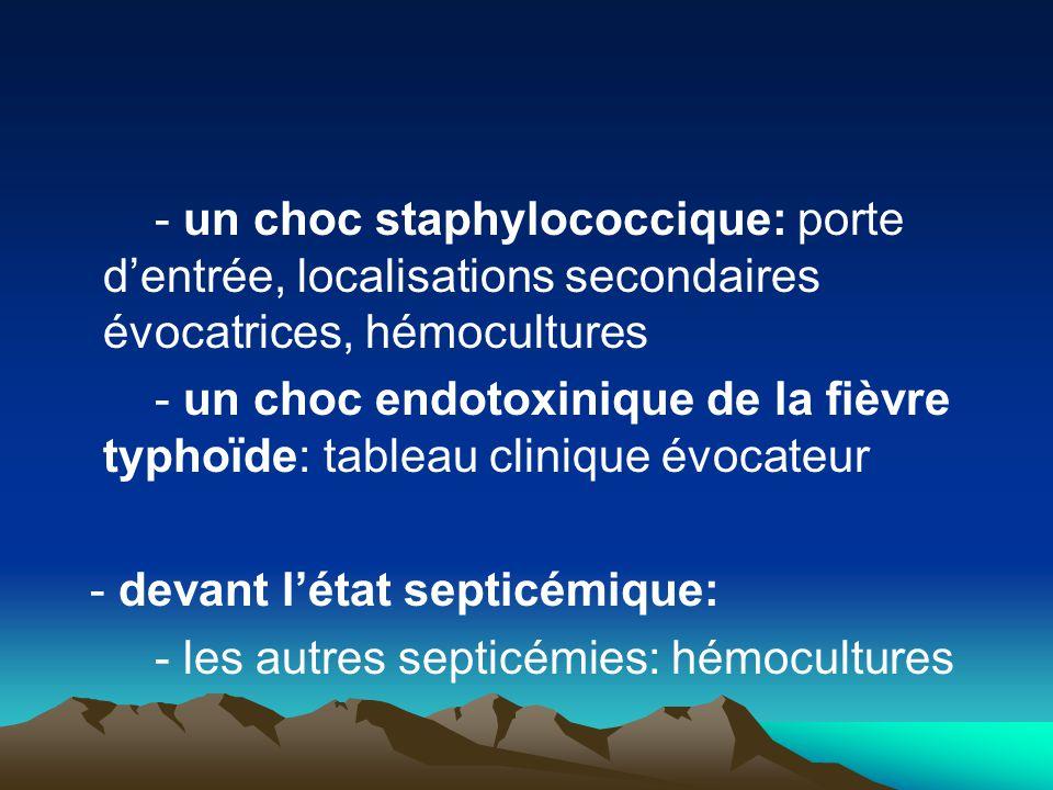 - un choc staphylococcique: porte d'entrée, localisations secondaires évocatrices, hémocultures - un choc endotoxinique de la fièvre typhoïde: tableau