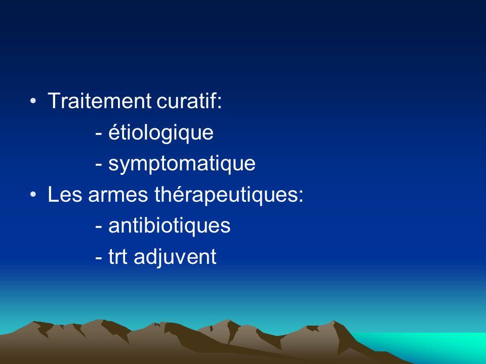 Traitement curatif: - étiologique - symptomatique Les armes thérapeutiques: - antibiotiques - trt adjuvent