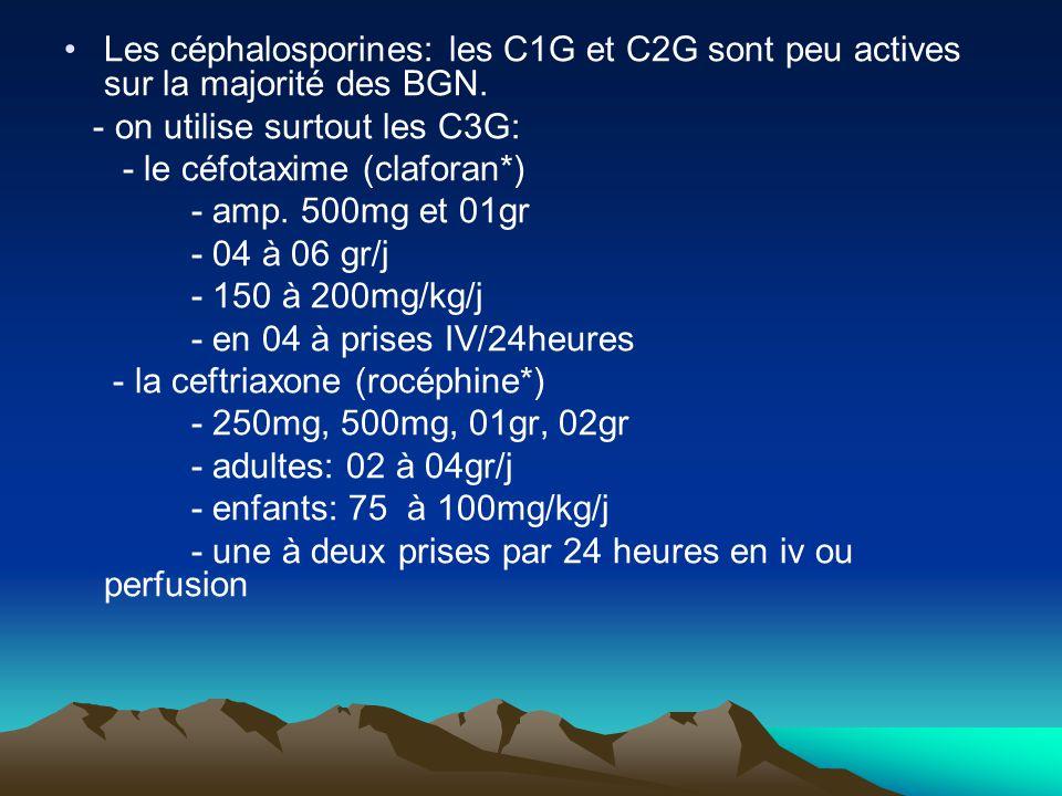 Les céphalosporines: les C1G et C2G sont peu actives sur la majorité des BGN. - on utilise surtout les C3G: - le céfotaxime (claforan*) - amp. 500mg e