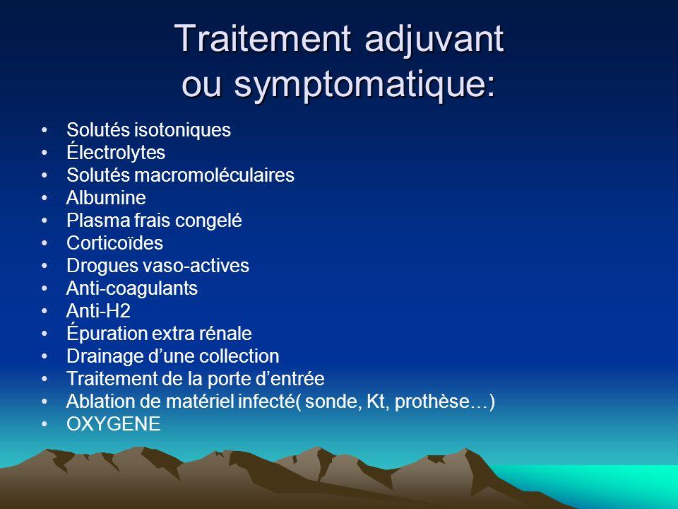 Traitement adjuvant ou symptomatique: Solutés isotoniques Électrolytes Solutés macromoléculaires Albumine Plasma frais congelé Corticoïdes Drogues vas
