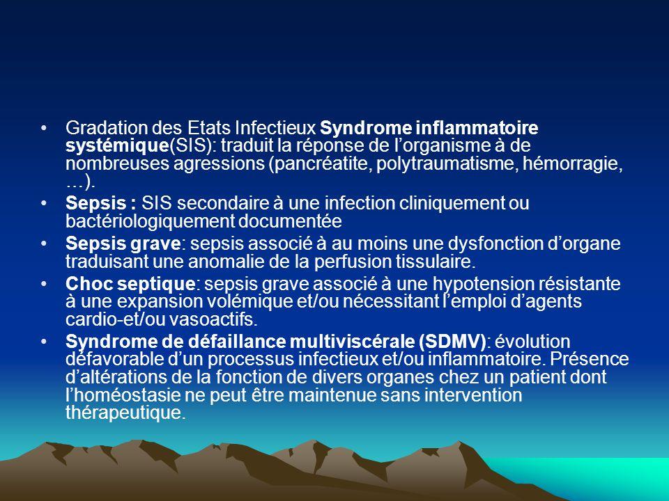 Gradation des Etats Infectieux Syndrome inflammatoire systémique(SIS): traduit la réponse de l'organisme à de nombreuses agressions (pancréatite, poly