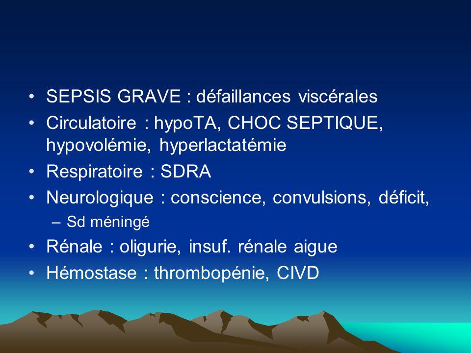 SEPSIS GRAVE : défaillances viscérales Circulatoire : hypoTA, CHOC SEPTIQUE, hypovolémie, hyperlactatémie Respiratoire : SDRA Neurologique : conscienc