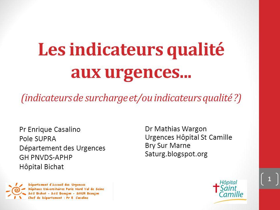 Les indicateurs qualité aux urgences...