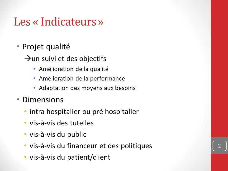 Les « Indicateurs » Projet qualité  un suivi et des objectifs Amélioration de la qualité Amélioration de la performance Adaptation des moyens aux besoins Dimensions intra hospitalier ou pré hospitalier vis-à-vis des tutelles vis-à-vis du public vis-à-vis du financeur et des politiques vis-à-vis du patient/client 2