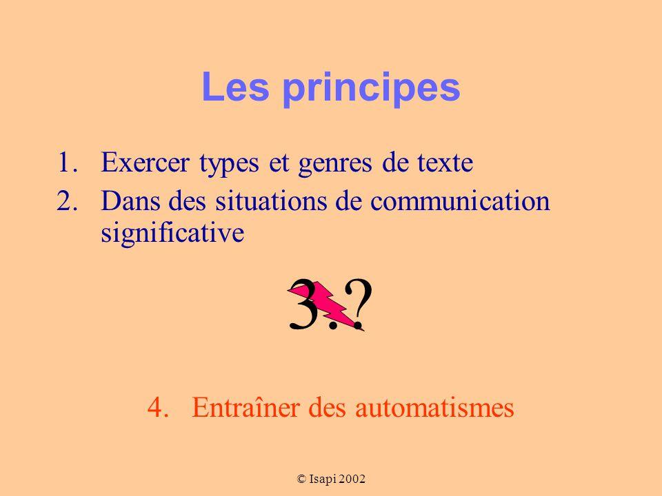 © Isapi 2002 Les principes 1.Exercer types et genres de texte 2.Dans des situations de communication significative 3..