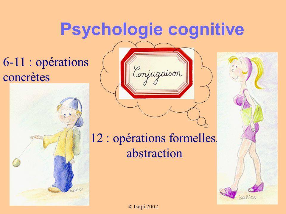 © Isapi 2002 Psychologie cognitive 6-11 : opérations concrètes 12 : opérations formelles, abstraction