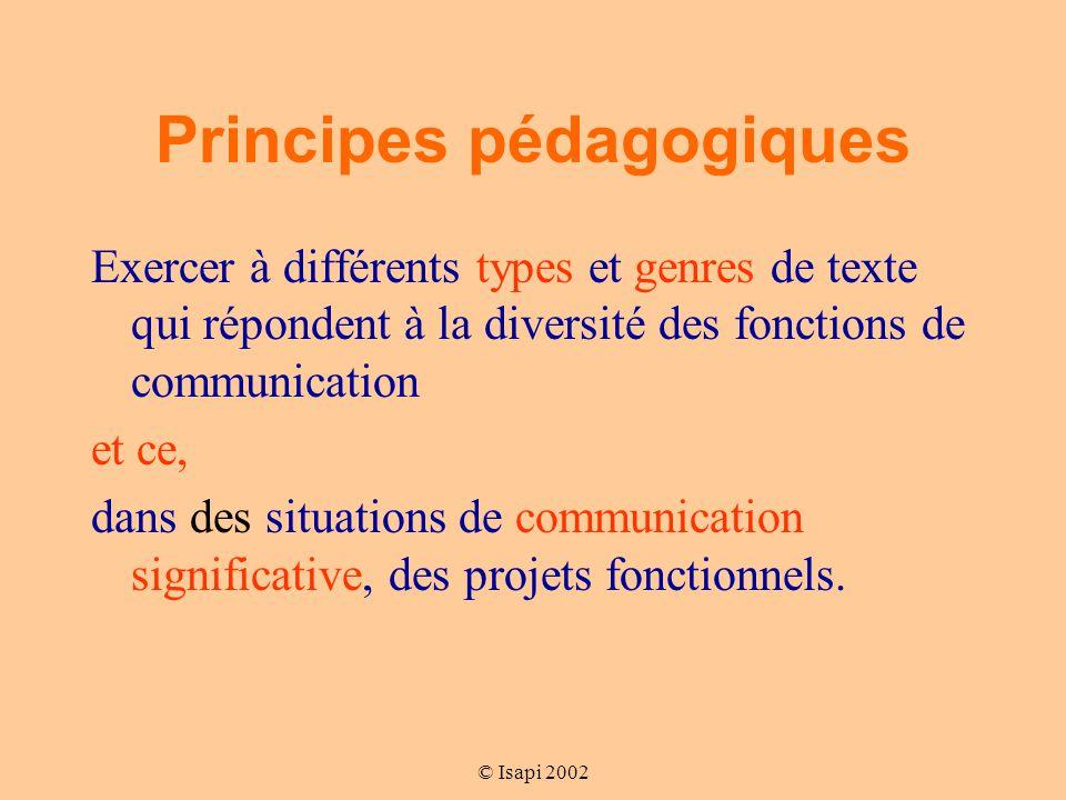 © Isapi 2002 Principes pédagogiques Exercer à différents types et genres de texte qui répondent à la diversité des fonctions de communication et ce, dans des situations de communication significative, des projets fonctionnels.