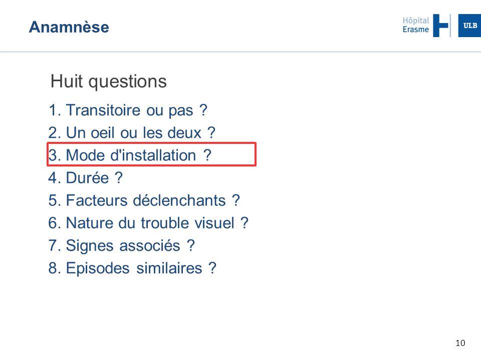 10 Anamnèse Huit questions 1.Transitoire ou pas .