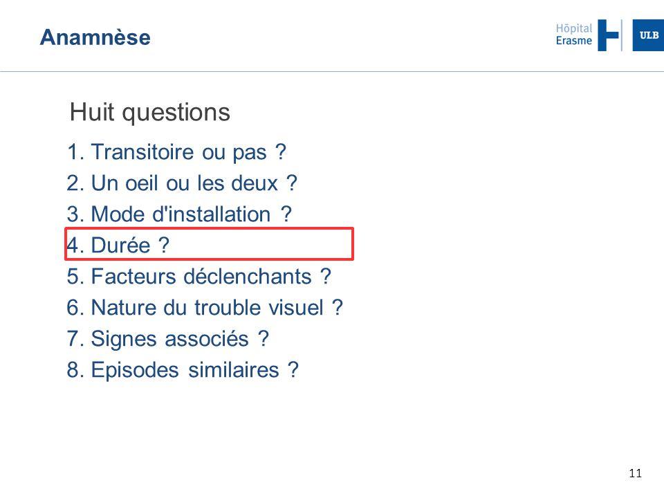 11 Anamnèse Huit questions 1.Transitoire ou pas .