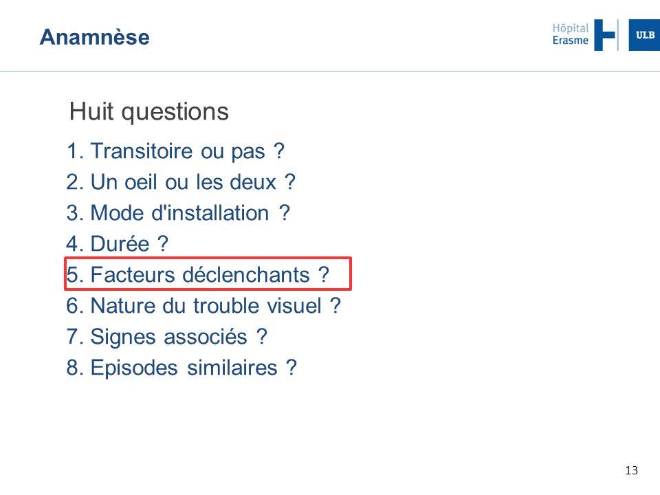 13 Anamnèse Huit questions 1. Transitoire ou pas ? 2. Un oeil ou les deux ? 3. Mode d'installation ? 4. Durée ? 5. Facteurs déclenchants ? 6. Nature d