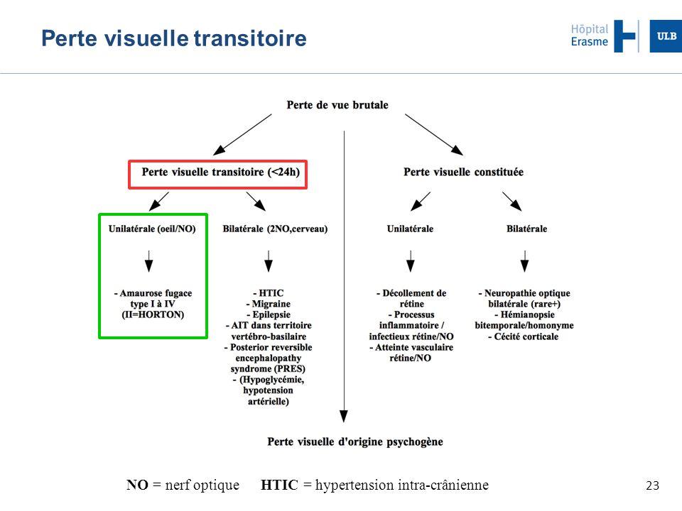 23 Perte visuelle transitoire NO = nerf optique HTIC = hypertension intra-crânienne