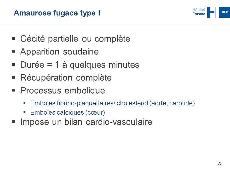 25 Amaurose fugace type I  Cécité partielle ou complète  Apparition soudaine  Durée = 1 à quelques minutes  Récupération complète  Processus embolique  Emboles fibrino-plaquettaires/ cholestérol (aorte, carotide)  Emboles calciques (cœur)  Impose un bilan cardio-vasculaire
