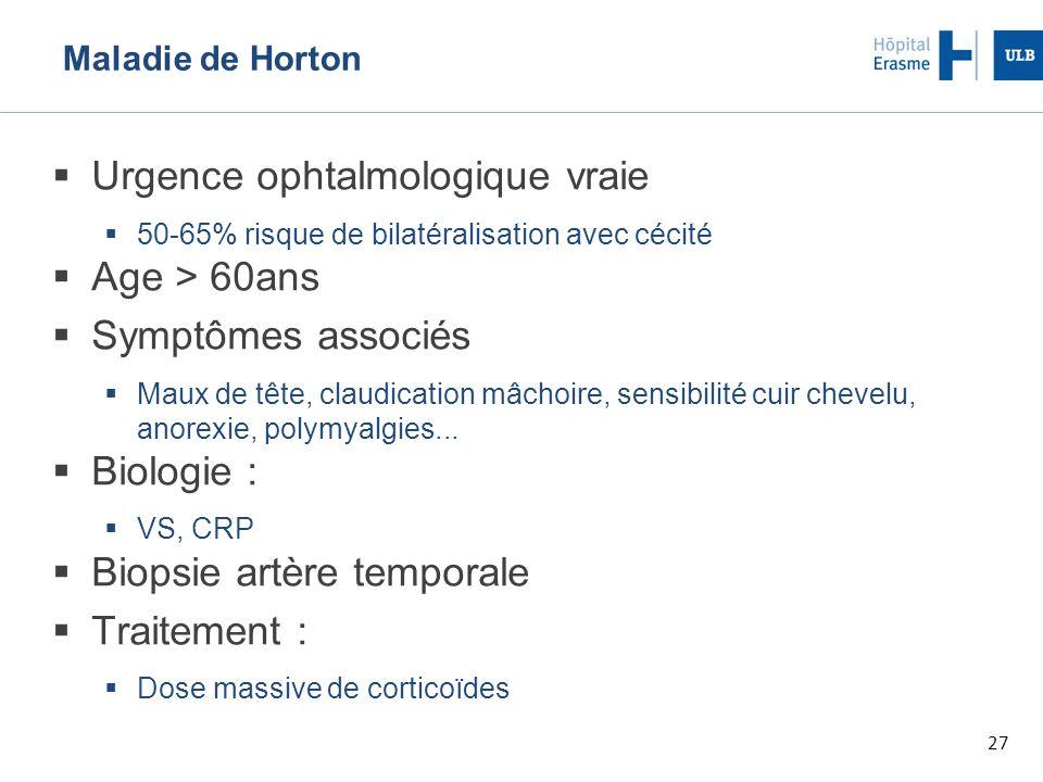 27 Maladie de Horton  Urgence ophtalmologique vraie  50-65% risque de bilatéralisation avec cécité  Age > 60ans  Symptômes associés  Maux de tête, claudication mâchoire, sensibilité cuir chevelu, anorexie, polymyalgies...