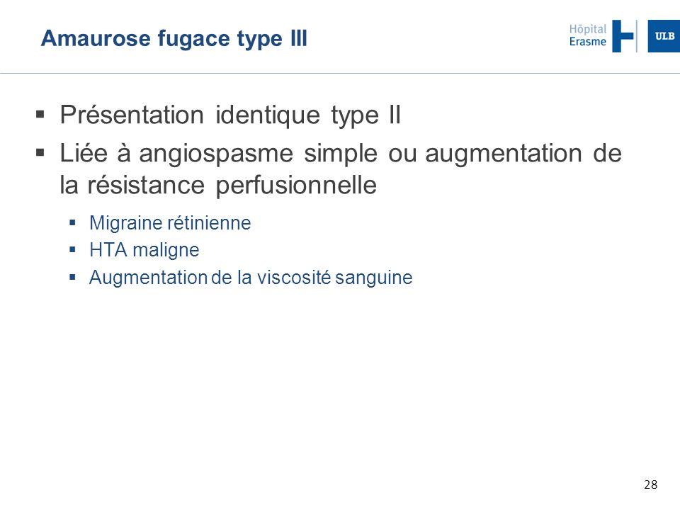 28 Amaurose fugace type III  Présentation identique type II  Liée à angiospasme simple ou augmentation de la résistance perfusionnelle  Migraine rétinienne  HTA maligne  Augmentation de la viscosité sanguine