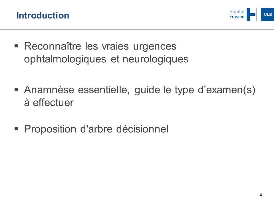 4 Introduction  Reconnaître les vraies urgences ophtalmologiques et neurologiques  Anamnèse essentielle, guide le type d'examen(s) à effectuer  Proposition d arbre décisionnel