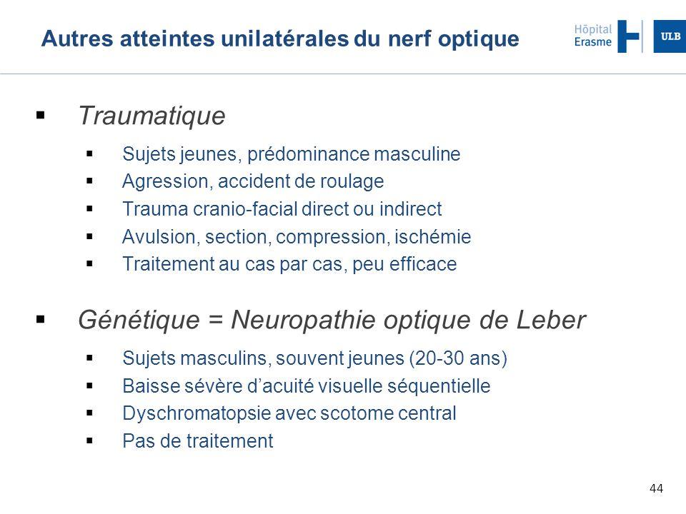 44 Autres atteintes unilatérales du nerf optique  Traumatique  Sujets jeunes, prédominance masculine  Agression, accident de roulage  Trauma crani