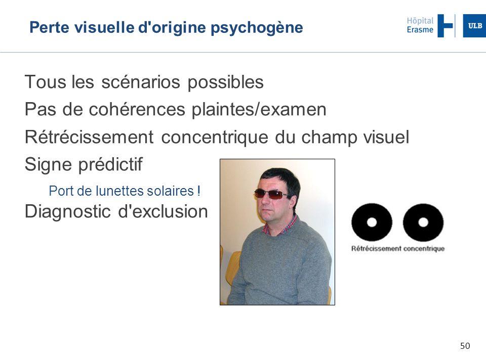 50 Perte visuelle d origine psychogène Tous les scénarios possibles Pas de cohérences plaintes/examen Rétrécissement concentrique du champ visuel Signe prédictif Port de lunettes solaires .