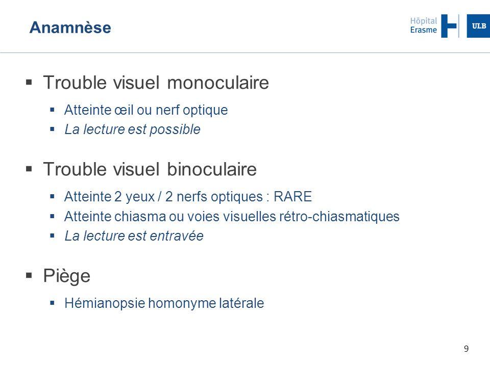 9 Anamnèse  Trouble visuel monoculaire  Atteinte œil ou nerf optique  La lecture est possible  Trouble visuel binoculaire  Atteinte 2 yeux / 2 ne