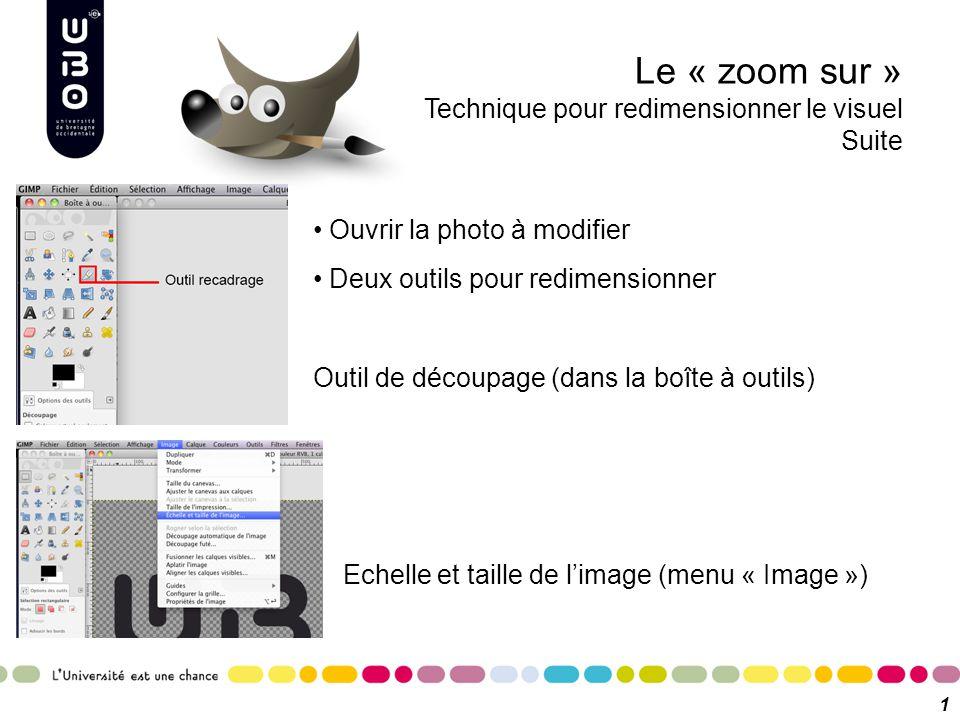Le « zoom sur » Technique pour redimensionner le visuel Suite 10 Ouvrir la photo à modifier Deux outils pour redimensionner Outil de découpage (dans l