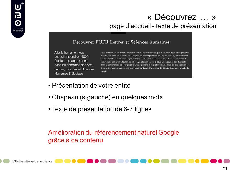 « Découvrez … » page d'accueil - texte de présentation 11 Présentation de votre entité Chapeau (à gauche) en quelques mots Texte de présentation de 6-