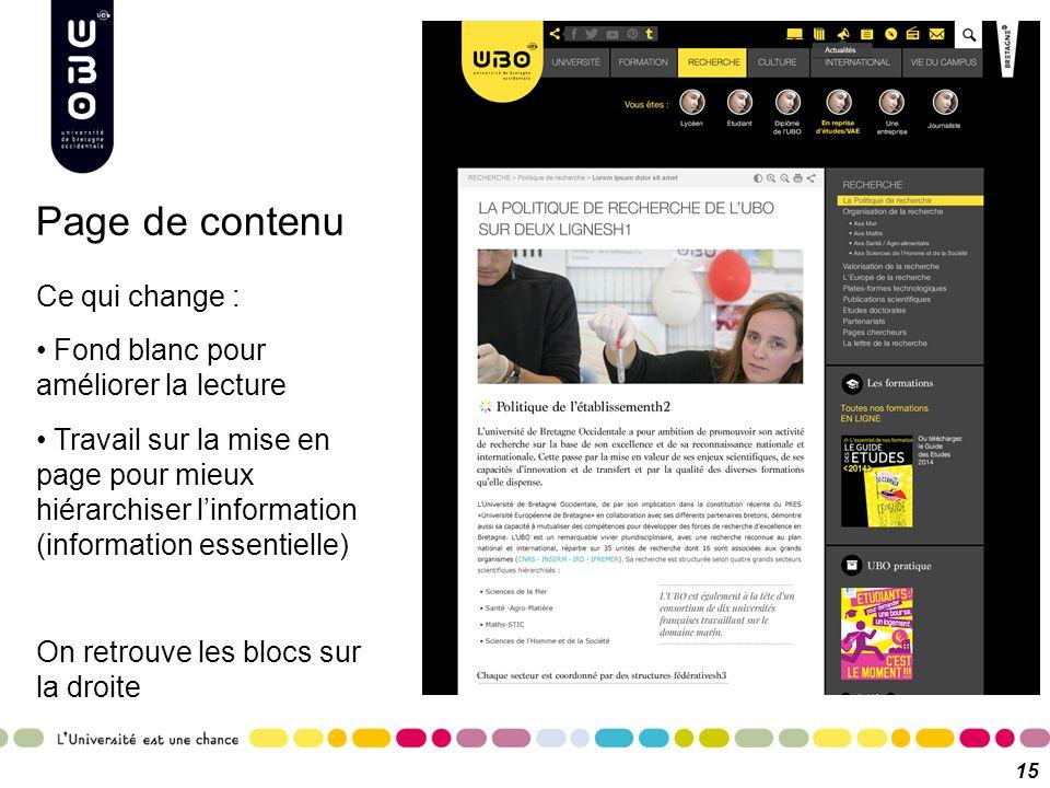 15 Ce qui change : Fond blanc pour améliorer la lecture Travail sur la mise en page pour mieux hiérarchiser l'information (information essentielle) On