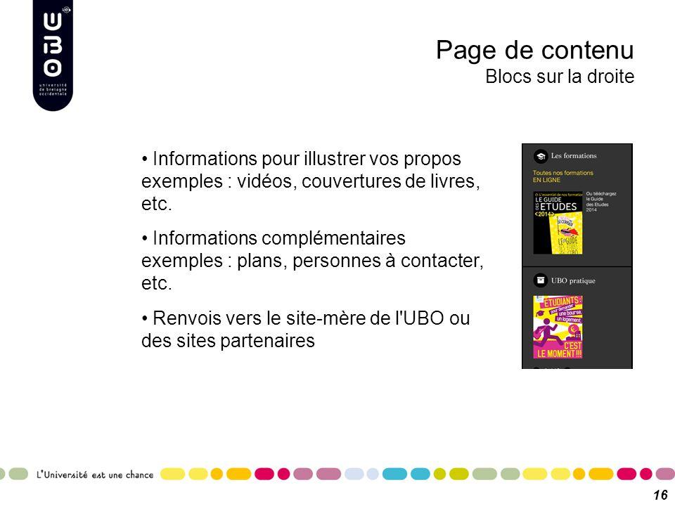 Page de contenu Blocs sur la droite 16 Informations pour illustrer vos propos exemples : vidéos, couvertures de livres, etc. Informations complémentai