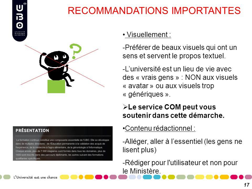 RECOMMANDATIONS IMPORTANTES 17 Visuellement : -Préférer de beaux visuels qui ont un sens et servent le propos textuel. -L'université est un lieu de vi