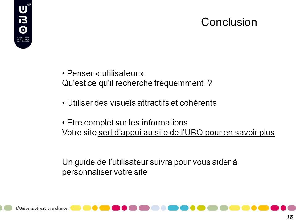 Conclusion Penser « utilisateur » Qu'est ce qu'il recherche fréquemment ? Utiliser des visuels attractifs et cohérents Etre complet sur les informatio