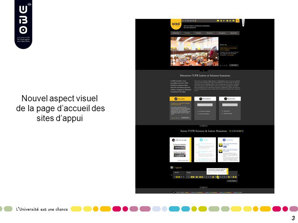 Nouvel aspect visuel de la page d'accueil des sites d'appui 3