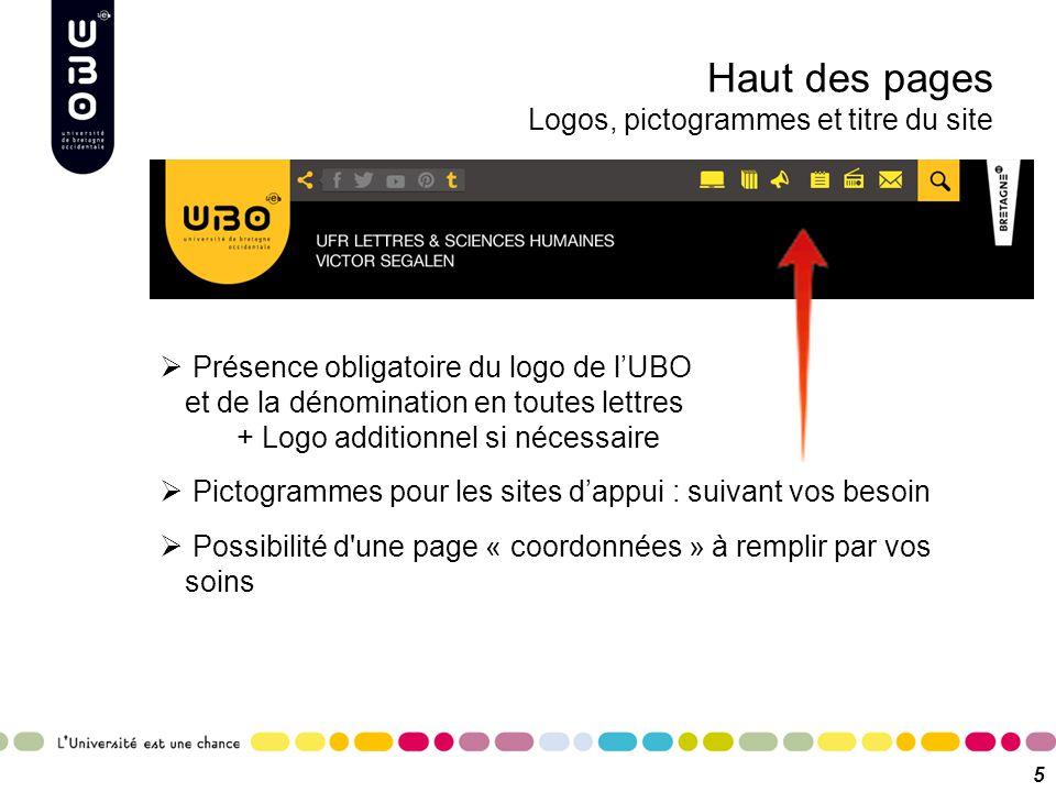 Haut des pages Logos, pictogrammes et titre du site 5  Présence obligatoire du logo de l'UBO et de la dénomination en toutes lettres + Logo additionn