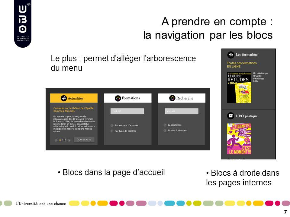 A prendre en compte : la navigation par les blocs Blocs dans la page d'accueil 7 Blocs à droite dans les pages internes Le plus : permet d'alléger l'a