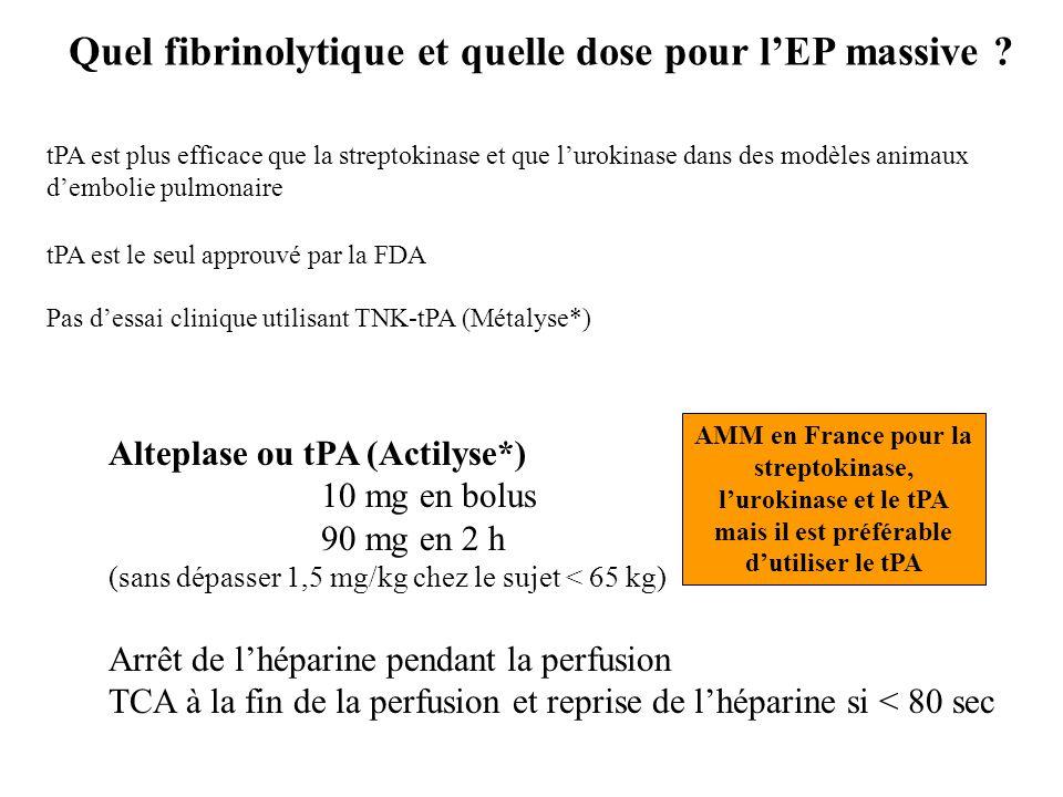 Alteplase ou tPA (Actilyse*) 10 mg en bolus 90 mg en 2 h (sans dépasser 1,5 mg/kg chez le sujet < 65 kg) Arrêt de l'héparine pendant la perfusion TCA