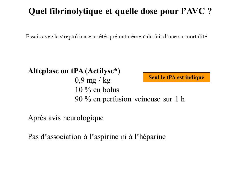 Alteplase ou tPA (Actilyse*) 0,9 mg / kg 10 % en bolus 90 % en perfusion veineuse sur 1 h Après avis neurologique Pas d'association à l'aspirine ni à
