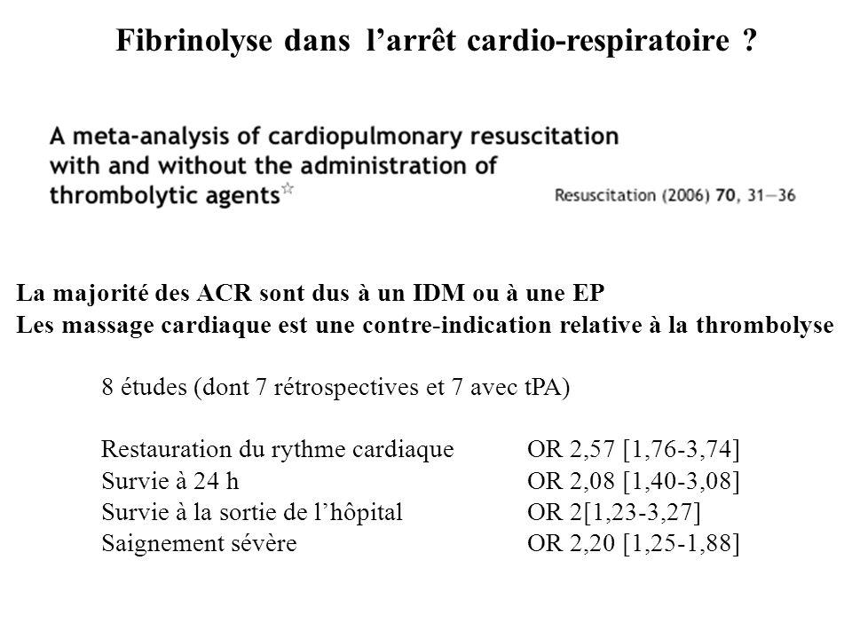 Fibrinolyse dans l'arrêt cardio-respiratoire ? La majorité des ACR sont dus à un IDM ou à une EP Les massage cardiaque est une contre-indication relat