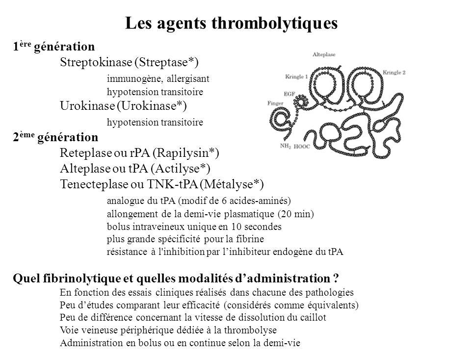 Les agents thrombolytiques 1 ère génération Streptokinase (Streptase*) immunogène, allergisant hypotension transitoire Urokinase (Urokinase*) hypotens