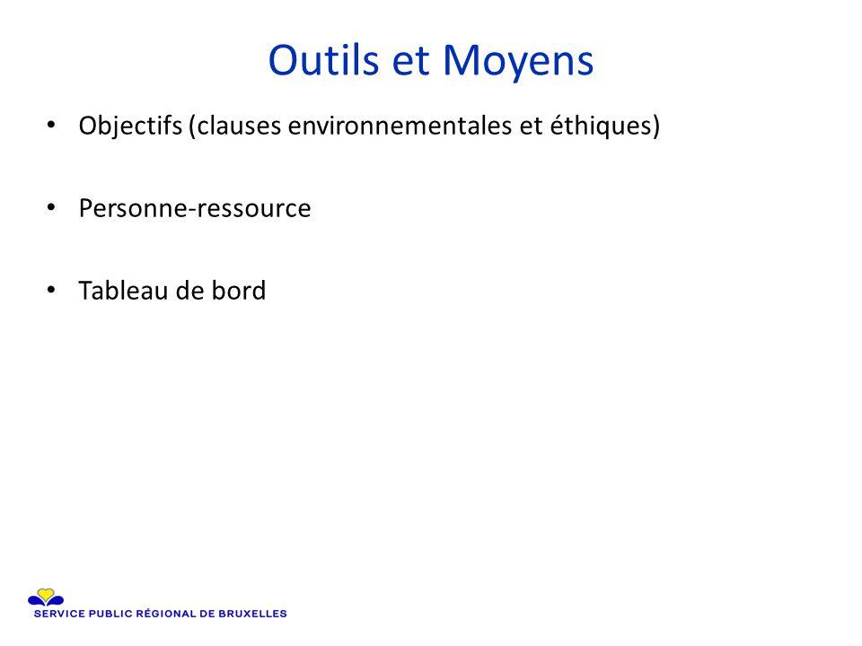 Outils et Moyens Objectifs (clauses environnementales et éthiques) Personne-ressource Tableau de bord