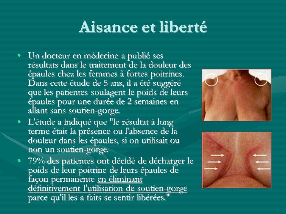 Aisance et liberté Un docteur en médecine a publié ses résultats dans le traitement de la douleur des épaules chez les femmes à fortes poitrines. Dans