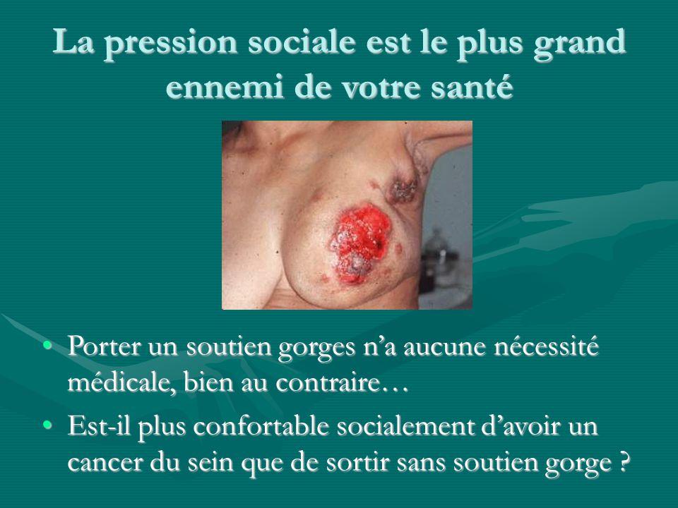 La pression sociale est le plus grand ennemi de votre santé Porter un soutien gorges n'a aucune nécessité médicale, bien au contraire…Porter un soutie