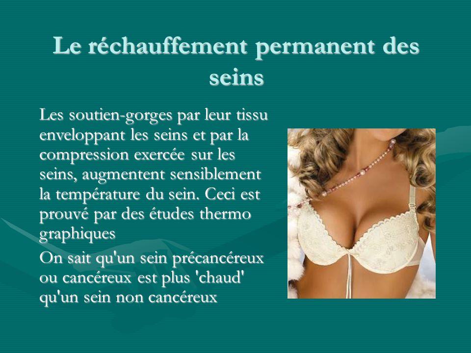 Le réchauffement permanent des seins Les soutien-gorges par leur tissu enveloppant les seins et par la compression exercée sur les seins, augmentent s