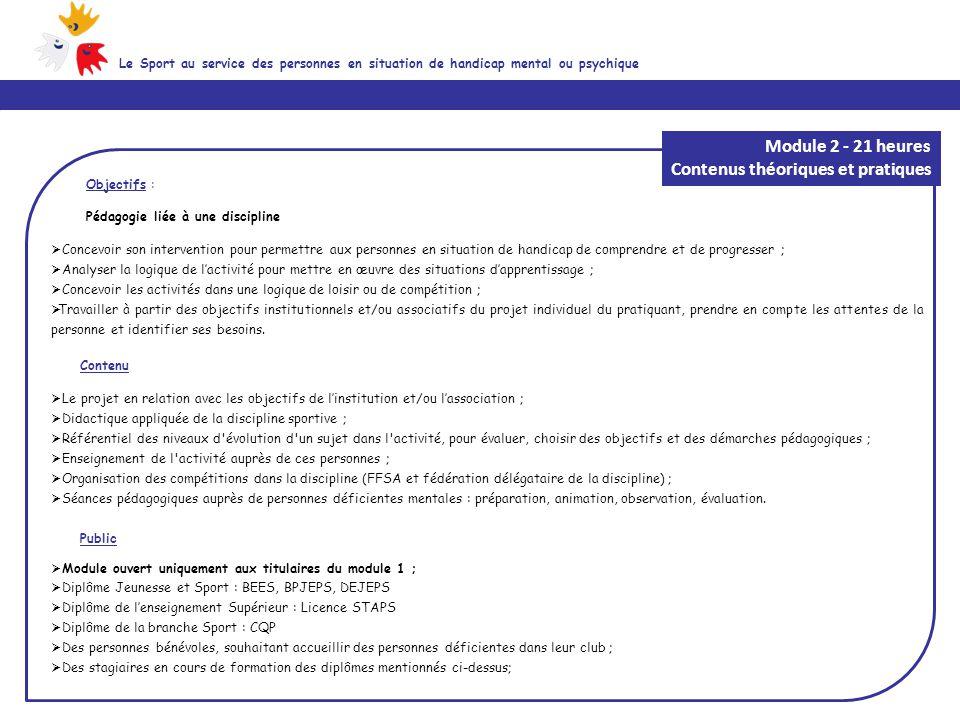 Objectifs : Pédagogie liée à une discipline  Concevoir son intervention pour permettre aux personnes en situation de handicap de comprendre et de pro