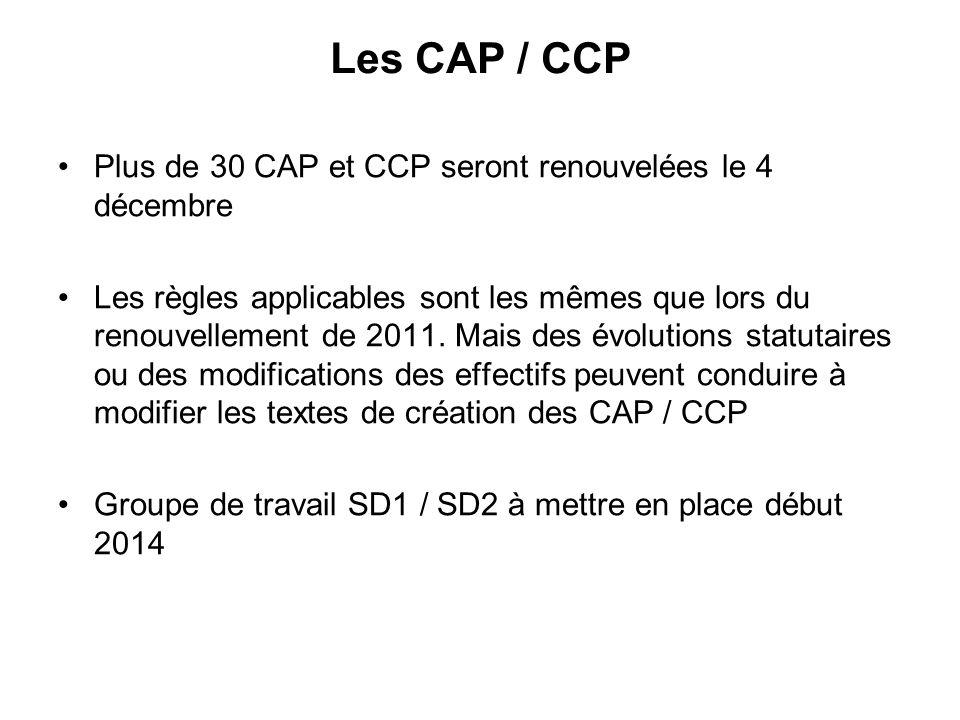 Les CAP / CCP Plus de 30 CAP et CCP seront renouvelées le 4 décembre Les règles applicables sont les mêmes que lors du renouvellement de 2011.