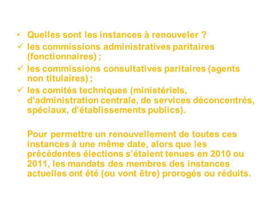 Quelles sont les instances à renouveler ? les commissions administratives paritaires (fonctionnaires) ; les commissions consultatives paritaires (agen