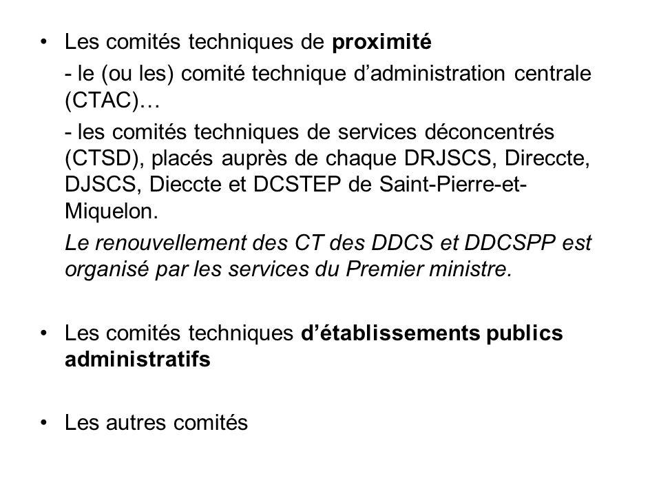 Les comités techniques de proximité - le (ou les) comité technique d'administration centrale (CTAC)… - les comités techniques de services déconcentrés (CTSD), placés auprès de chaque DRJSCS, Direccte, DJSCS, Dieccte et DCSTEP de Saint-Pierre-et- Miquelon.