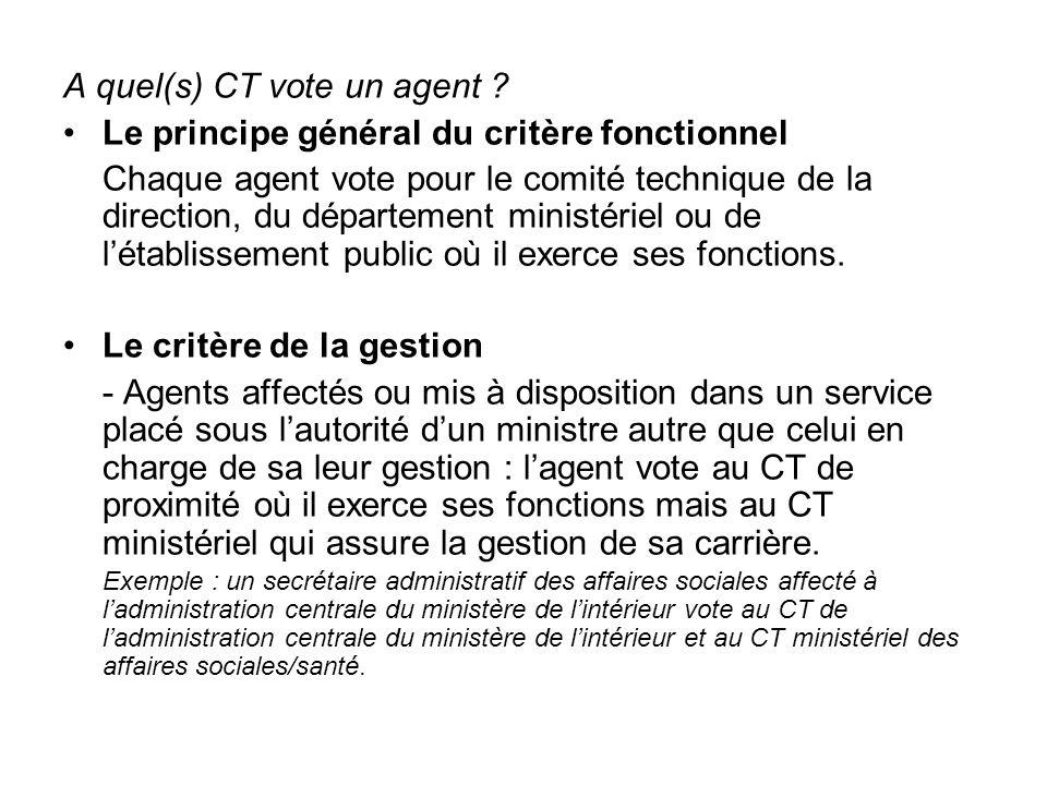 - Agents affectés dans des services sous l'autorité conjointe de plusieurs ministres : l'agent vote au CT de proximité où il exerce ses fonctions mais au CT ministériel qui assure la gestion de sa carrière.