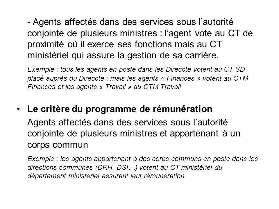 - Agents affectés dans des services sous l'autorité conjointe de plusieurs ministres : l'agent vote au CT de proximité où il exerce ses fonctions mais