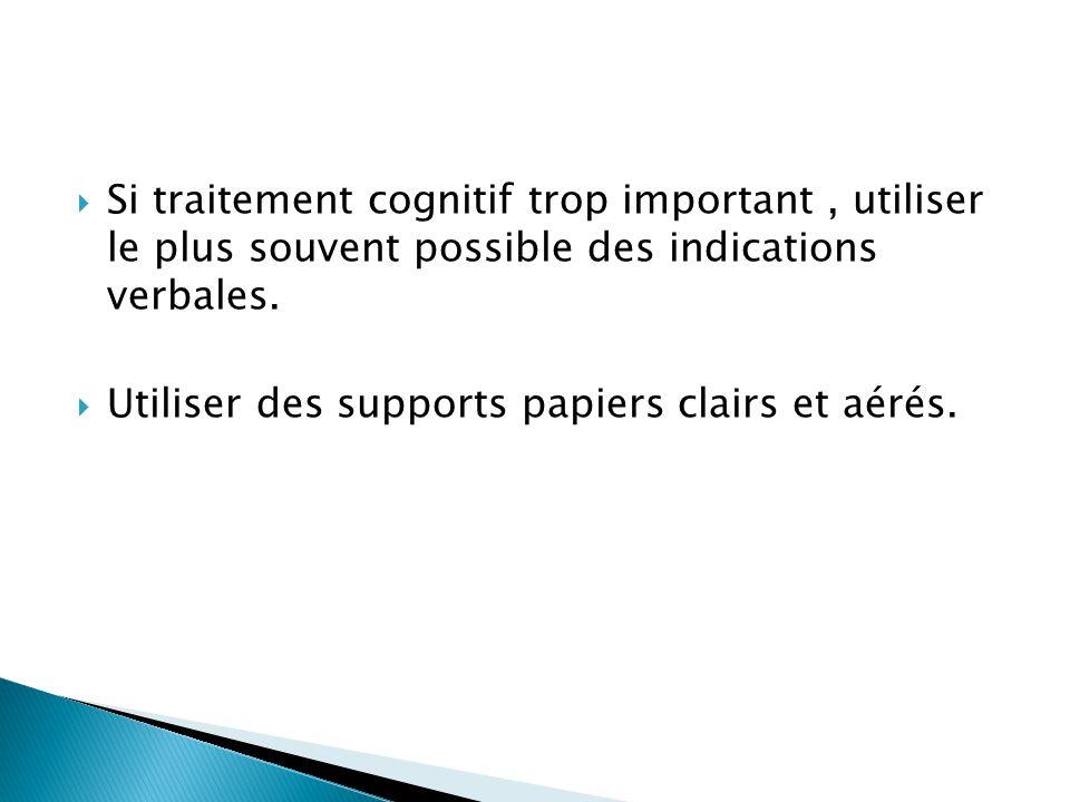  Si traitement cognitif trop important, utiliser le plus souvent possible des indications verbales.  Utiliser des supports papiers clairs et aérés.