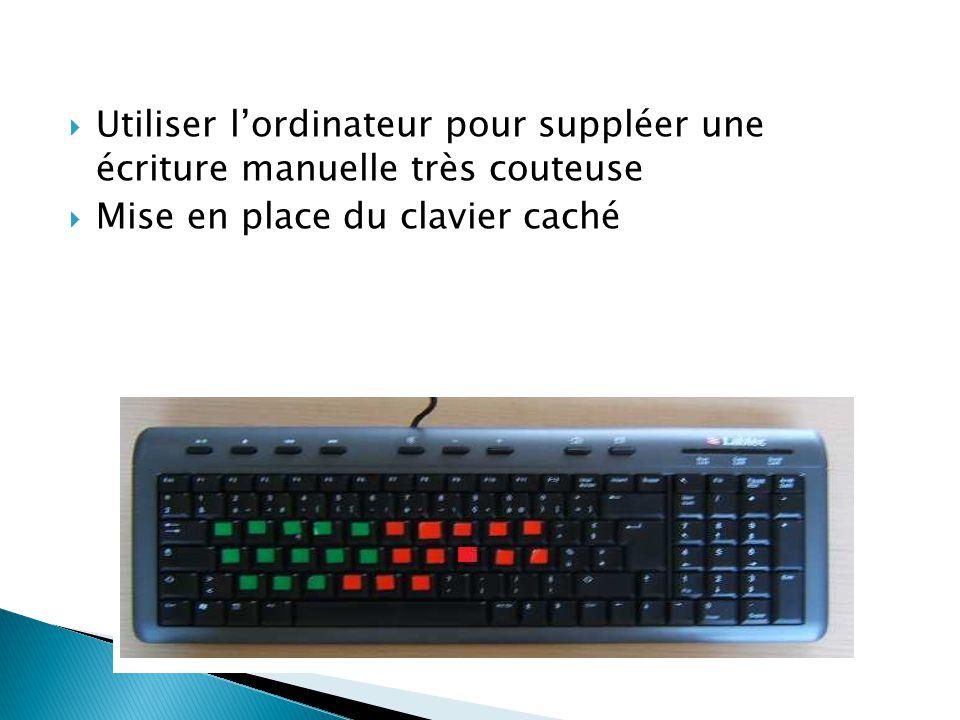  Utiliser l'ordinateur pour suppléer une écriture manuelle très couteuse  Mise en place du clavier caché
