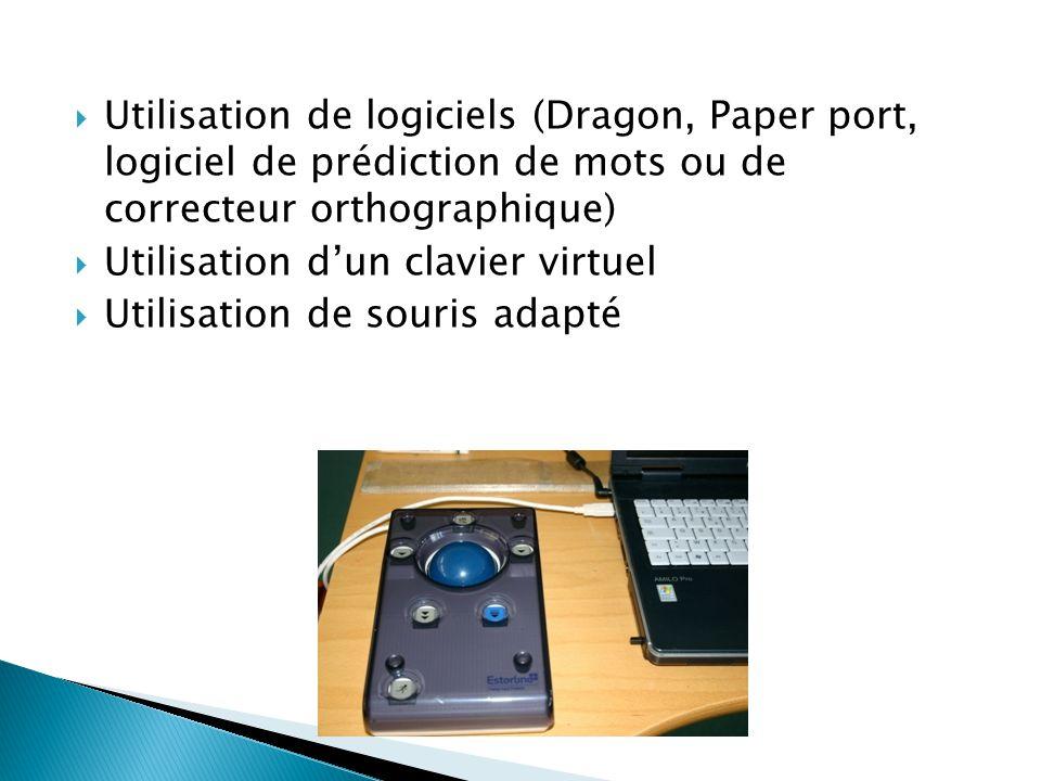  Utilisation de logiciels (Dragon, Paper port, logiciel de prédiction de mots ou de correcteur orthographique)  Utilisation d'un clavier virtuel  U